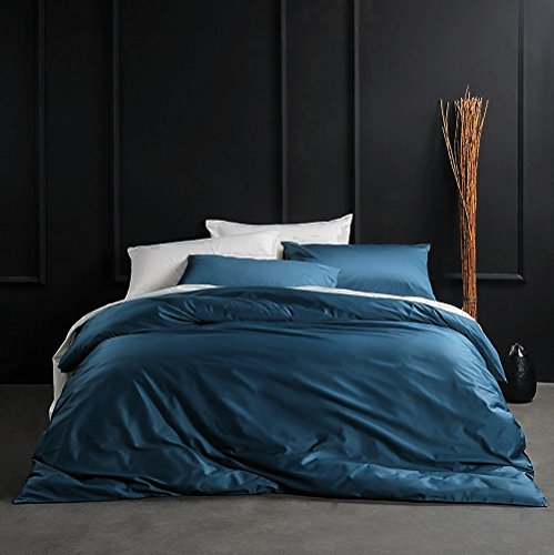 Eikei Solid Color Egyptian Cotton Duvet Cover Luxury Bedding Set High Thread Count Long Staple Sateen Weave Silky Soft Breathable Pima Quality Bed Linen (King, Ocean Teal) (Bedding Teal Colored Sets)