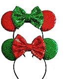 Two x Christmas Mickey Ears Christmas Minnie Ears Xmas Mickey Ears Christmas Disney,Holiday Ears, Mouse Ears Holiday Ears