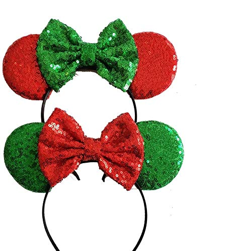 (Two x Christmas Mickey Ears Christmas Minnie Ears Xmas Mickey Ears Christmas Disney,Holiday Ears, Mouse Ears Holiday Ears )