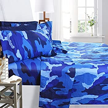 printed bed sheet set full size blue camouflage by clara clark 6 piece bed sheet 100 soft brushed microfiber with deep pocket fitted sheet - Camouflage Bedding