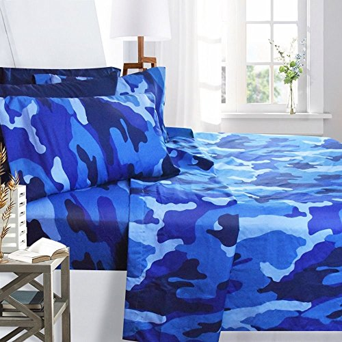 - Printed Bed Sheet Set, King Size - Blue Camouflage - By Clara Clark, 6 Piece Bed Sheet 100% Soft Brushed Microfiber, With Deep Pocket Fitted Sheet, 1800 Luxury Bedding Collection, Hypoallergenic,