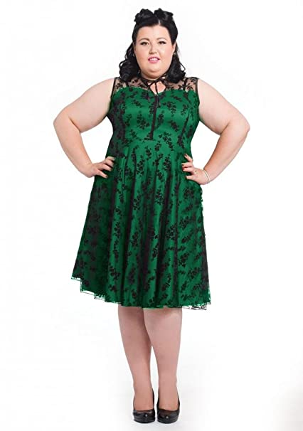 1950s Plus Size Dresses, Clothing and Costumes Voodoo Vixen Womens Floral Flocked Plus Size Flair Dress Green $88.99 AT vintagedancer.com