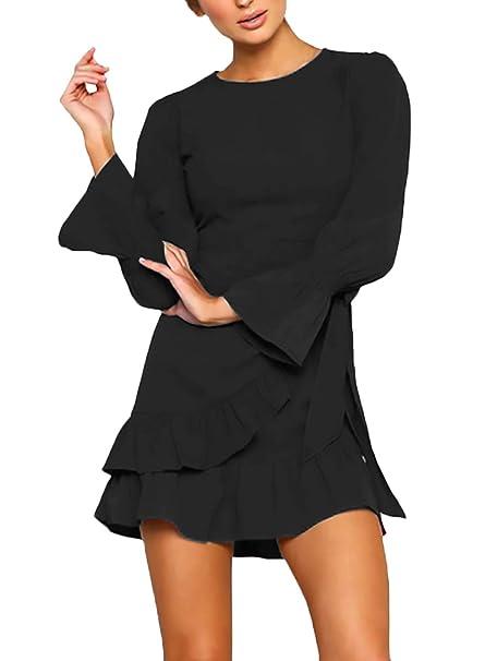 Abito di Graduazione Donna Autunno con Volant Mini Vestiti Puro Colore  Elasticità Manica Lunga Rotondo Collo Bendare Chic Vestito Moda Giovane  Camicette ... 41612d741cc