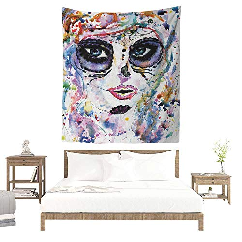 Sugar Skull Tapestry Hippie Halloween Girl with Sugar Skull Makeup Watercolor Painting Style Creepy Look Literary Small Fresh 54W x 72L INCH Multicolor -