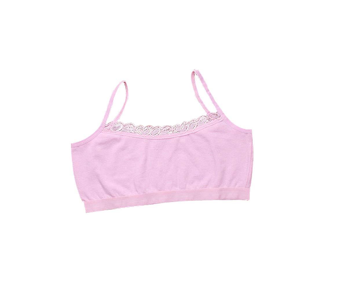 Pestelley Kids Girl's Cami Crop Bra Soft Cotton Lace Bra Training Underwear Clothing with Adjustable Straps (Average Size, Pink Girls's Training Bras)