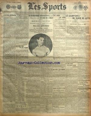 SPORTS (LES) [No 1062] du 28/10/1907 - LE CHAMPIONNAT INTERNATIONAL DE BOXE DE COMBAT - LA COUPE DES VOITURETTES - UNE SEANCE D'AVIATION CHEZ ROBERT ESNAULT-PELTERIE - MICHELIN TOUJOURS VAINQUEUR - LES PRIX DE FIAT EN 1908