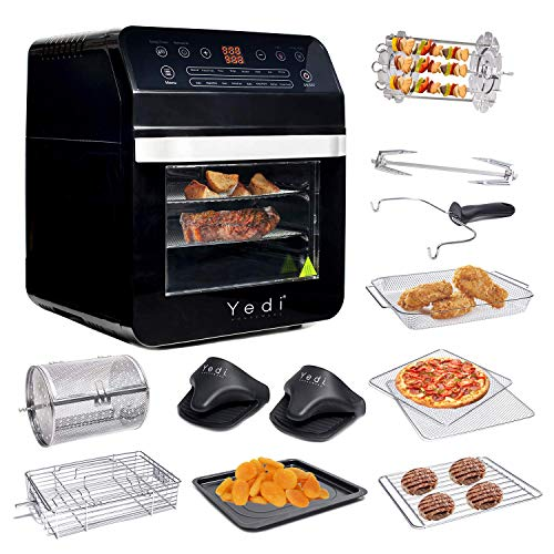 Yedi Total Package Air Fryer Oven XL, 12.7 Quart, Deluxe Accessory Kit, Recipes, Black