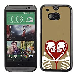 Shell-Star Arte & diseño plástico duro Fundas Cover Cubre Hard Case Cover para HTC One M8 ( Heart Love Skeleton Gold Red White )