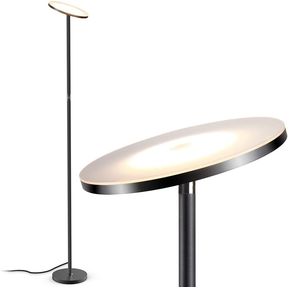 Tall Standing Lamp with 3 Color Temperatures /& Stepless Dimmer /& Remote /& Touch Control /& USB Charging Port for Living Room Bedroom Office LED Torchiere Lamp 30W 2400LM OUTON Floor Lamp Modern