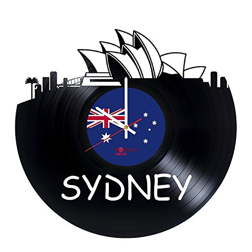 Sydney Australia Design HANDMADE Vinyl Record Wall Clock – Perfect gifts for birthday wedding anniversary valentine's mother's father's day - Gift ideas for men and women him and her