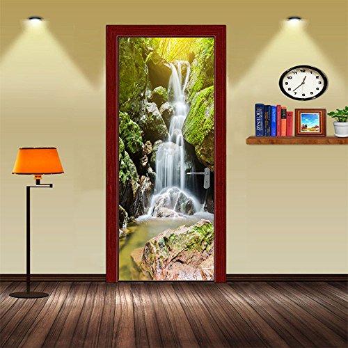 - GTNINE 3D Waterfall Door Stickers Mural Decals Removable Waterproof Vinyl Stickers for Livingroom Bedroom Bathroom Home Decor - DIY Wall Stickers, 30.3'' 78.7''