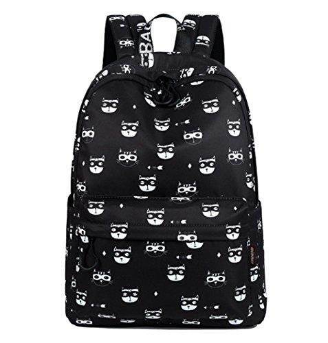 HopeEye niñas Tendencias de la moda Poliéster La Sra mochila(yszsb16-1-Black) 4-negro