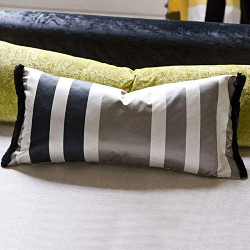 Designers Guild Throw Pillow Cover and Insert, Trevelyan (Black and Tan), 24 Inches x 12 Inches