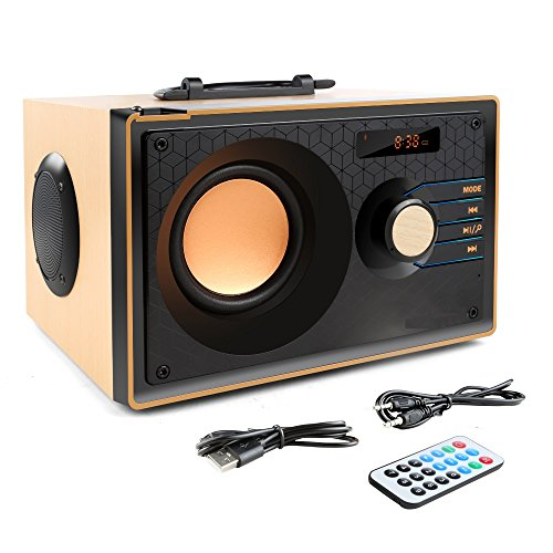 Desktop Wooden Bluetooth Speaker 10w Powerful Wireless Stereo Subwoofer Loudspeakers Music Player Support Digital Display Remote Control FM Radio TF Card USB AUX Speakers for Home Party for Phone by TOMPROAD (Image #8)