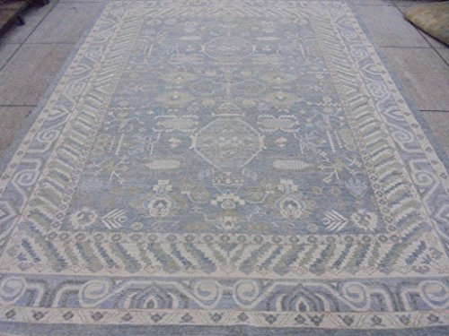 Chobi Carpet - Silver Blue Hand Knotted Rug 9' x 12' Ziglar Chobi Peshawar Oriental Carpet