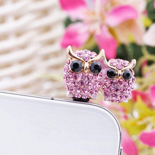 Dust plug - Purple owl - Earphone jack accessory anti dust stopper ear cap ear jack for iphone samsung htc 3.5mm