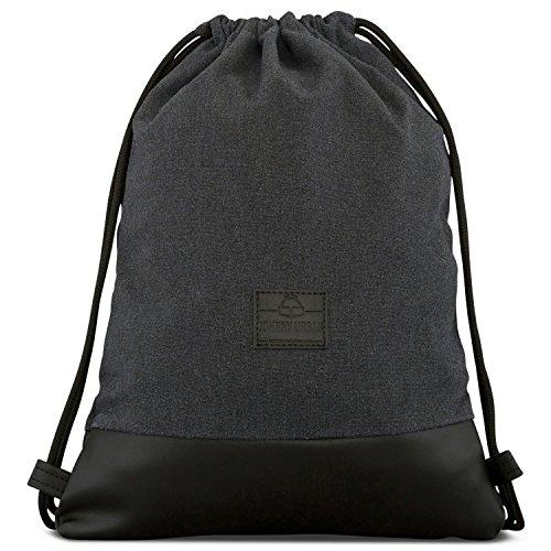 Drawstring Bag Cotton Black JOHNNY URBAN Canvas Gymsack Sackpack Sack Men & Women