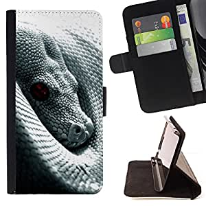 Snake With Red Eye - Painting Art Smile Face Style Design PU Leather Flip Stand Case Cover FOR Sony Xperia m55w Z3 Compact Mini @ The Smurfs