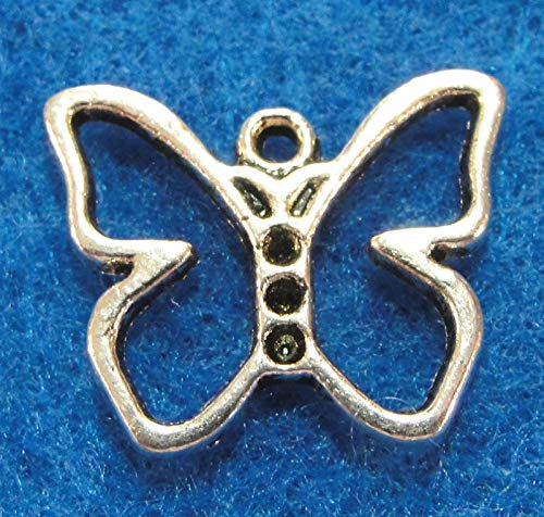 10Pcs. Tibetan Silver Open Butterfly Charms Pendants Earring Drops BF08A Crafting Key Chain Bracelet Necklace Jewelry Accessories Pendants