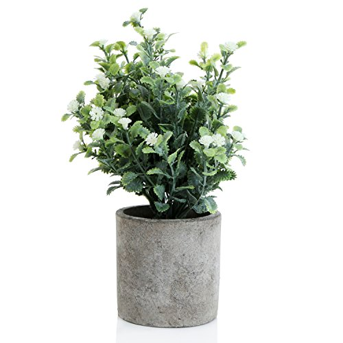 Decorative Small Artificial Potted Grass Pea White Flower Plants with Round Textured Vase by MyGift