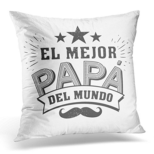 (SPXUBZ the Best Dad in World Spanish Language Happy Fathers Day Feliz Dia Del Padre Quotes Congratulation Label Decorative Home Decor Square Indoor/Outdoor Pillowcase Size: 16x16 Inch(Two)