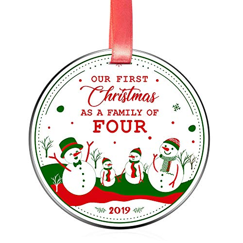 Elegant Chef New Mom Dad Christmas Ornament Gift- Our First Christmas as a Family of 4 Dated 2019- Xmas Holidays Celebration Decoration- Parents Newborn Festival Keepsake- 3 inch Flat Stainless Steel