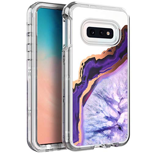 (BAISRKE Shiny Rose Gold Purple Agate Marble Heavy Duty Hybrid 3-Layer Full-Body Protect Clear Case Soft TPU & Hard Plastic Back Cover Compatible with Samsung Galaxy S10e Lite [5.8 inch])