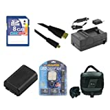 Sony HDR-PJ380 Camcorder Accessory Kit includes: SDNPFV50NEW Battery, SDM-109 Charger, KSD48GB Memory Card, SDC-27 Case, HDMI6FMC AV & HDMI Cable, LED-70 On-Camera Lighting