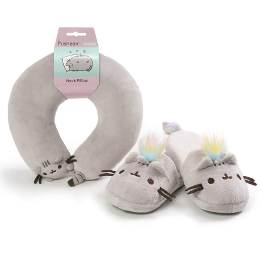 GUND, Pusheen Slippers and Pusheen Neck Pillow Travel Comfort Set