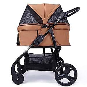 Pet stroller Pet Stroller,Collapsible Pet Stroller,Four-Wheeled Pet Stroller, Pet Stroller,for Small and Medium Pets (Color : Khaki)