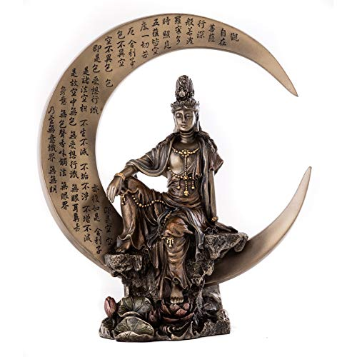 Top Collection Guan Yin Statue in Royal Ease Pose on Crescent Moon- Kwan Yin Buddhist Goddess of Compassion and Mercy Sculpture in Cold Cast Bronze- 8-Inch Figurine