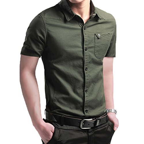 LOCALMODE Men's Military Slim Fit Dress Shirt Casual Long Sleeve Button Down Dress Shirts (X-Large, DX-Army Green)
