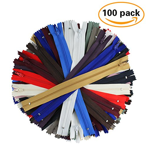 Bulk Nylon Strap (100Pcs Coil Length 9 Inch Nylon Coil Zippers Bulk for Sewing Crafts (20 Assorted Colors))