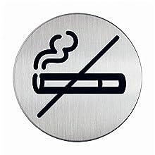 Durable Picto - Pictograma de prohibido fumar (diámetro de 83 mm) color plateado