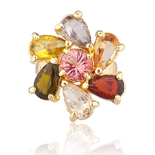 MOTHERS DAY SPECIAL! - Super Sized Ring, Flower Shape, Multi-color Cubic Zirconia CZ Stones by ZC Jewels(Size 9) (Ring Shape Stones Mothers)