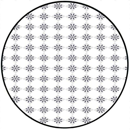 Short Plush Round Rug Vintage Classical Spring Blooms in Silver Color Squares Retro Checked Modern Pattern Grey Silver White Living Room Coffee Table 23.6