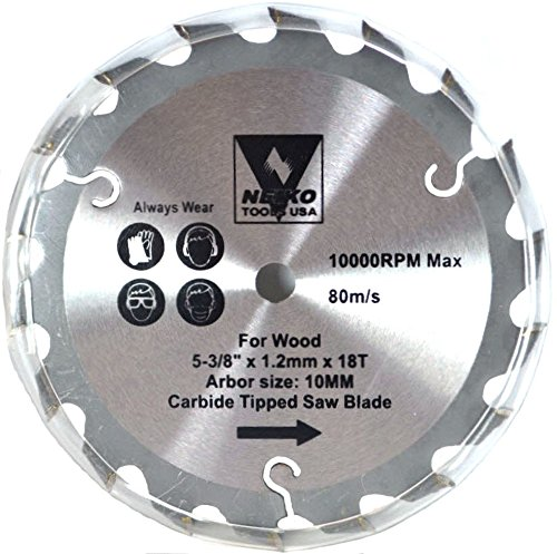 "Price comparison product image Neiko Tools USA 5-3 / 8"" x 18 Tooth Carbide Tipped Circular Saw Blade"