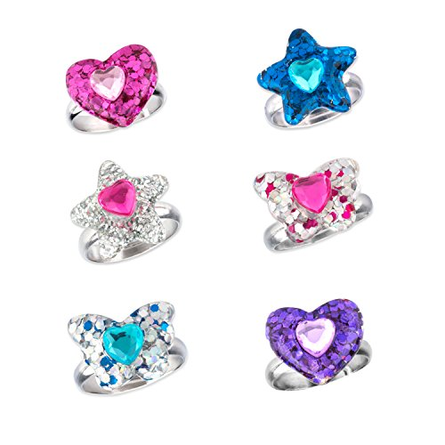 SkyWiseWin Rings Set for Children, Perfect Adjustable Flash Powder Heart Shaped Butterfly Star Rings for Little Girls, Kid's Jewelry Set