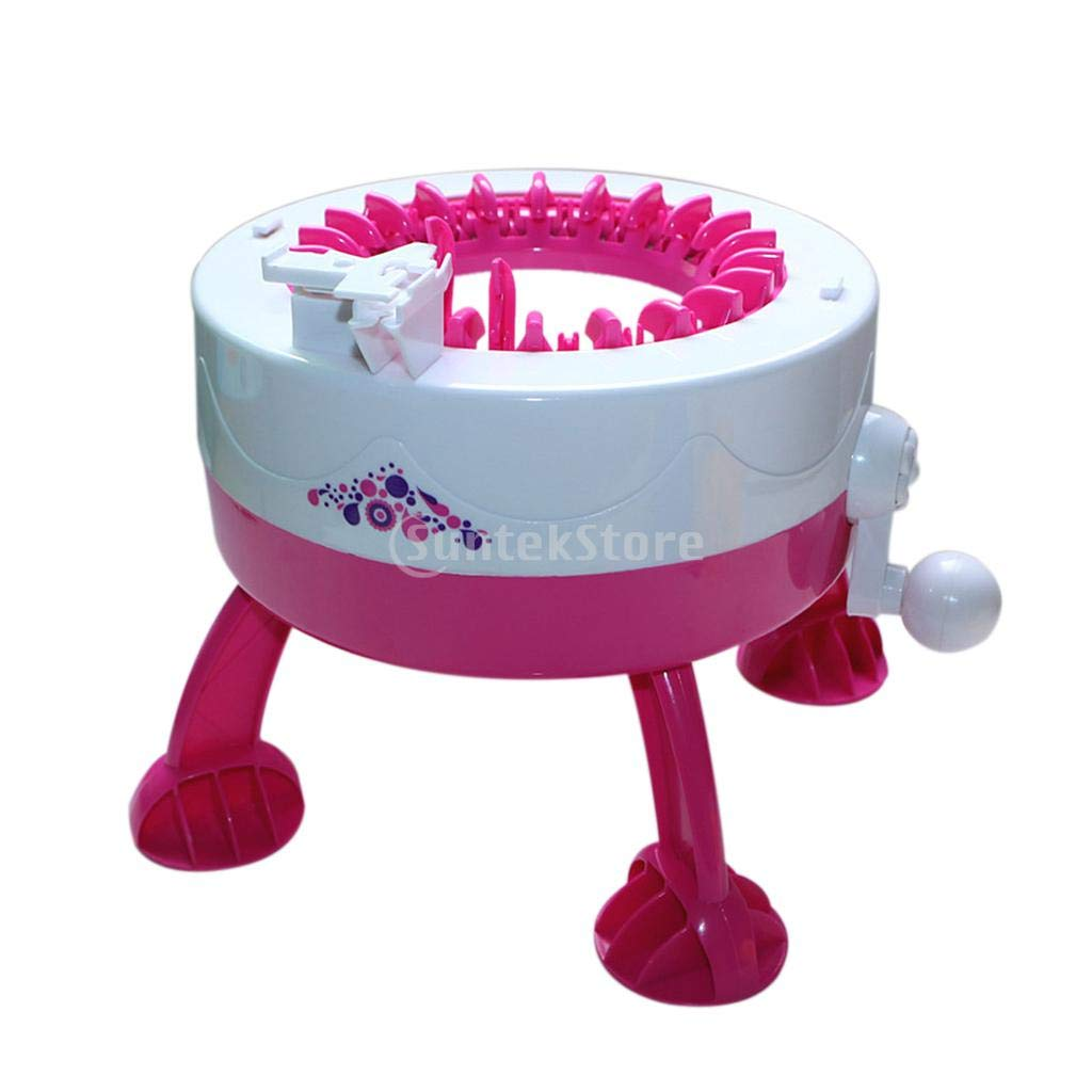 Loom Machine - Girls Knitting Loom Machine Weaver Toy Playset Hand Crank Yarn Crafts Maker - Girls Blanket Spool Projects Long Needle Knifty Hooks Small Round Kids Totes Thick Replacement Car