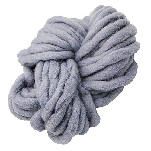 Craft Yarn Wool (Merino Wool Super Chunky Yarn- Wool Roving Yarn for Finger Knitting,Crocheting Felting,Making Rugs Blanket and Crafts by FLORAKNIT (Gray, 20mm-0.55LB))