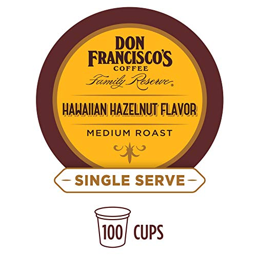 Don Franciscos Hawaiian Hazelnut Flavored (100 Count) Single-Serve Coffee Pods, Compatible with Keurig K-Cup Brewers