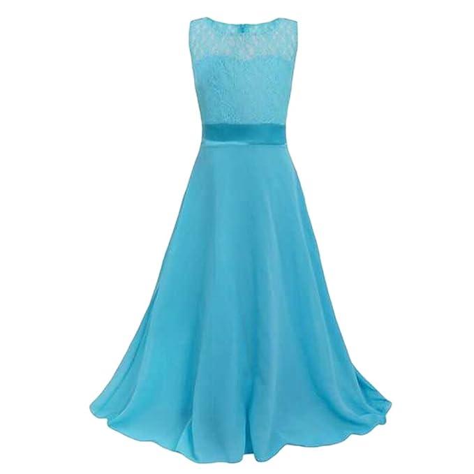 WanYang Mädchen Kleid Spitze Chiffon Kleid Kleiden Rock Bra Abendkleid  Spitzenkleid Ärmellos Party Festliches Kleid