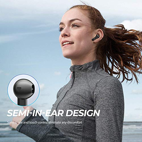 SOUNDPEATS Truebuds True Wireless Earbuds Semi-in-Ear TWS Stereo Bluetooth Earphones V5.0 Touch Control Bluetooth Headphones with Mic, 2600mAH Charging Case, Total 70 Hours Playtime, USB-C
