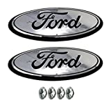 f150 backup camera emblem - Muzzys (SET OF TWO) FORD F150 CHROME and Black Grille or Tailgate Emblem WITH NUTS 2005-14, Oval 9