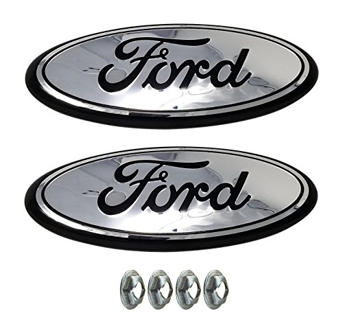 Muzzys (SET OF TWO) FORD F150 CHROME and Black Grille or Tailgate Emblem WITH NUTS 2005-14, Oval 9