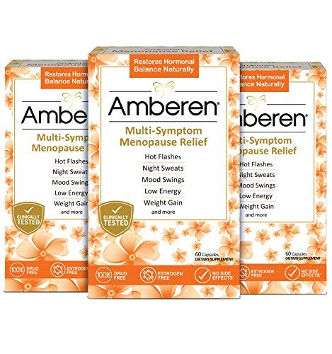 Amberen: Safe Multi-Symptom Menopause Relief. Clinically Shown to Relieve 12 Menopause Symptoms: Hot Flashes, Night Sweats, Mood Swings, Low Energy and More. 3 Month Supply from Lunada Biomedical - Official Manufacturer