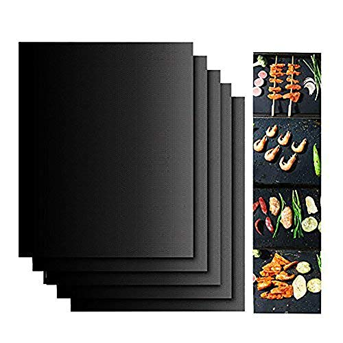 NiceOne Grill Set,100% Non-Stick BBQ Grill & Baking Mats, Black