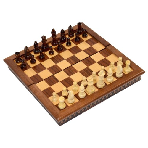 Wholesale Chess 10'' Compact Travel Folding Magnetic Wood Chess Set - Rosewood Finish by Wholesale Chess