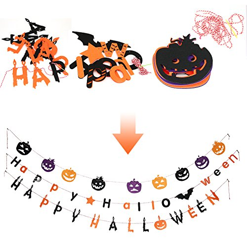 Halloween Decoration Hanging Sign, Letters for Door, Wall. Made with Felt Fabric Tough and Durable for Indoor and Outdoor. 3 Different Styles. Perfect for Kid's Halloween Party. (3PC)