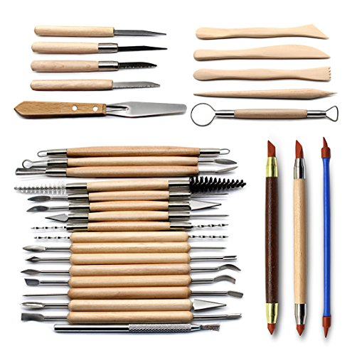 (Set of 30 Clay Sculpting Tool Wooden Handle Pottery Carving Tool Set by Blisstime )